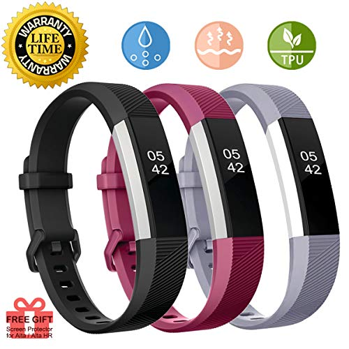 Beeswind for Alta Bands and Alta HR Bands Alta Silicone Bands Replacement Bands Watch Buckle Adjustable Wristband Accessories Alta Hr Bands Small Alta Hr Bands for Women Men (Black,Grey&Purple-Small)