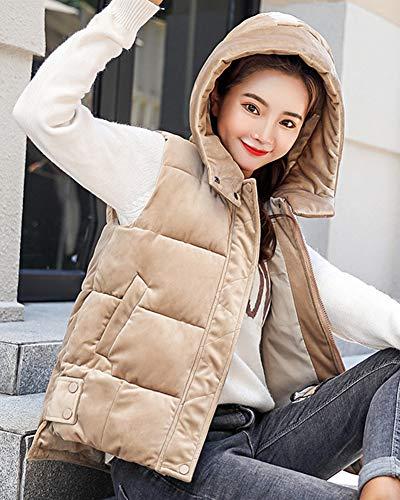 Gilet Women Coat Quilted Vest Thicker Jacket Sleeveless Warm Khaki Overcoat Down qxFg5xwa