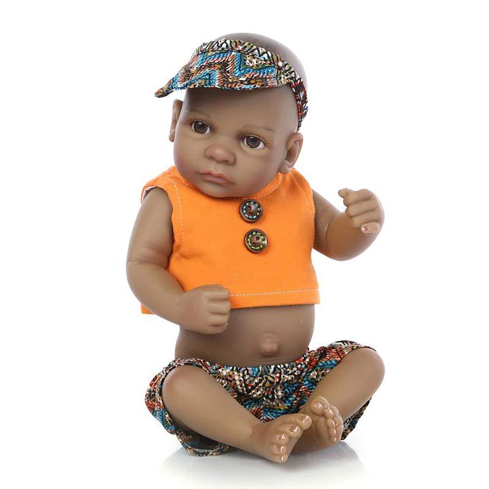 10 Zoll Open Eye Reborn Baby Dolls Alive Lebensechte Schwarze Puppen Realistische Bebe Reborn Babys Jungen Spielzeug Mit Orange Kleidung - Orange B07PXDX2L3 Babypuppen Bevorzugtes Material | Kaufen