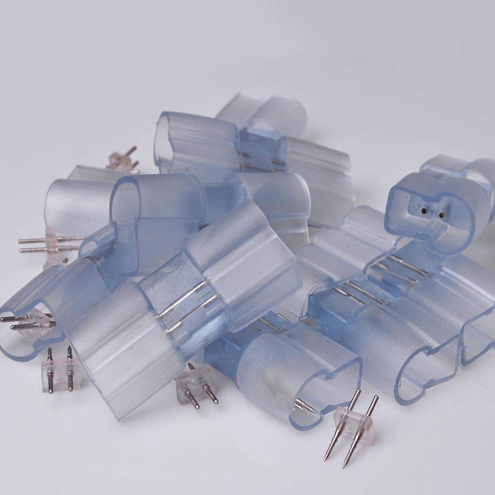10 PCS 13mm I Type PVC Splice Connector with Pins for 2 Wire LED Neon Tube Rope Light Flexible Accessories Acc
