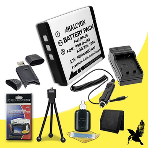 Halcyon 1400 mAH Lithium Ion Replacement KLIC-7004 Battery and Charger Kit + Memory Card Wallet + SDHC Card USB Reader + Deluxe Starter Kit for Kodak Easyshare M1033 10.0 MP Digital Camera and Kodak KLIC-7004 by Halcyon