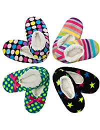 4 Pack Womens Warm & Cozy Feet Fuzzy Slippers Non-Slip...