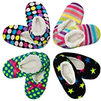 4 Pack Womens Warm & Cozy Feet Fuzzy Slippers Non-Slip Lined Socks Booties Indoor