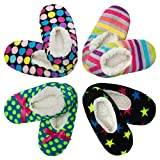 4pk Women's Warm & Cozy Feet Fuzzy Slippers Non-Slip Lined Socks Booties Indoor, M/L (7-9), Multicolor