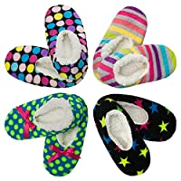 4pk Women's Warm & Cozy Feet Fuzzy Slippers Non-Slip Lined Socks Booties Indo...