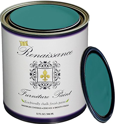 Renaissance Chalk Furniture Paint Qt - Non Toxic, Superior Coverage - Camelot Blue (32oz) (Best Turquoise Paint Color For Furniture)