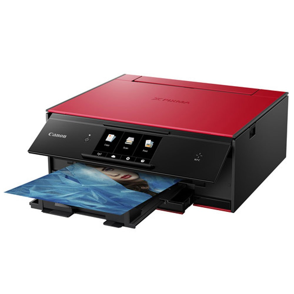 Canon PIXMA TS9020 Wireless All-in-One Inkjet Printer (Red) + Canon CLI-271 CMYK Ink Tank 4-Pack + Type A to Type B USB Cable + Super Dust Blower + Photo4Less Cleaning Cloth – Complete Printing Bundle by PHOTO4LESS (Image #1)