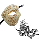 Phantom of Opera Design Venetian Masquerade Party Mask Gold Series Couple Mask Sets (Gold7)