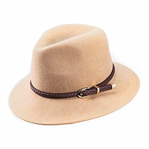 Verashome Felt Panama Hat-Adjustable 100% Wool Fedora Brim Wide Band Vintage Fit For Women and Men's Trilby For Autumn and Winter (Camel)