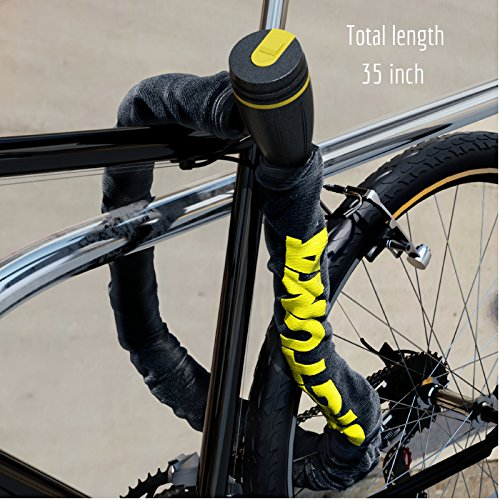 SIGTUNA Bike Lock - 8mm Bike Chain Lock Cable Made of U Lock ABS Steel Combination Links with 3 Keys and Heavy Duty Nylon Protective Sleeve Plus Key Hole Cover Mount Holder by Sigtuna Gear (Image #2)