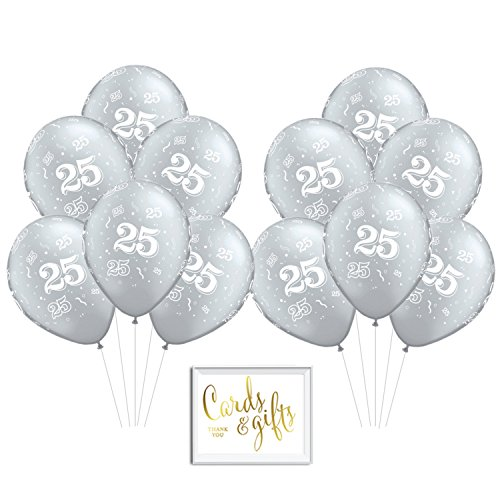 Andaz Press Bulk High Quality Latex Balloon Party Kit with Gold Cards & Gifts Sign, Wedding 25th Anniversary Silver Printed 11-inch Balloons, Wholesale -
