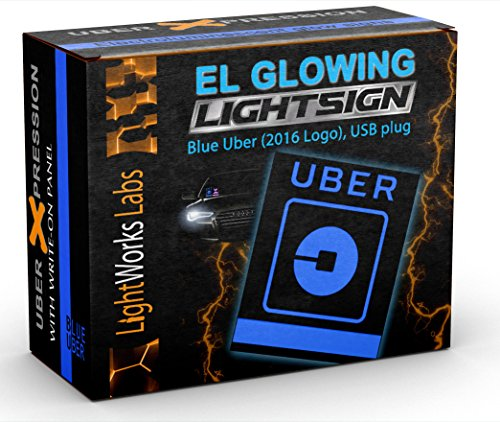 Uber Logo Light Sign - Illuminated Glowing Windshield Decal (Blue, With USB ()
