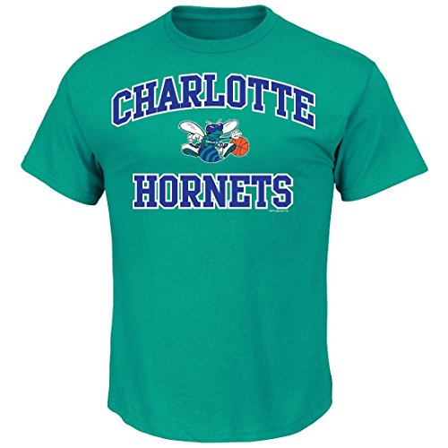 NBA Charlotte Hornets Men's Majestic Athletics Heart and Soul Short Sleeve Crew Neck T-Shirt, Small, New Aqua