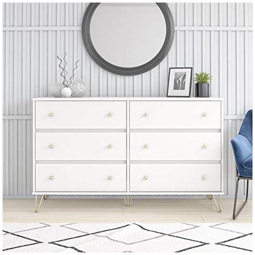 Bedroom Novogratz Finley 6 Drawer, White Dresser