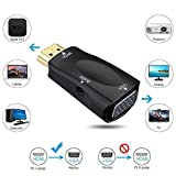 Luxon Portable 1080P Gold-Plated HDMI Male to VGA Female Video Converter Adapter Dongle with 3.5mm Audio Port for PC, Laptop, DVD, Desktop and other HDMI Input Devices