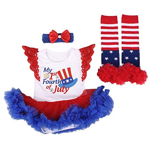 (OBEEII July Fourth American Patriotic Girl Romper Tutu Dress Headband Star Stripe Shoes/Leg Warmers Clothes 3pcs Outfits)