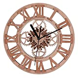 Giftgarden Personalized Unique Wooden Decorative Gear Round-shaped Wall Clocks for Living Room Office Gym Cool Modern Art Family Home Decor Clock