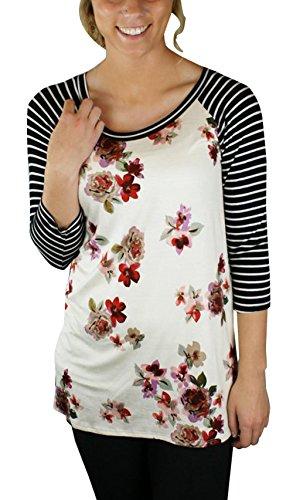 Fashion 4 et pissure Imprime Femme Manches Haut Legendaryman Blouse Raye Printemps Blanc Shirts 3 Shirts Col Tops Casual T Rond Automne wn04B0IZ