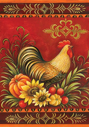 (Toland Home Garden Fall Rooster 28 x 40 Inch Decorative Autumn Bird Pumpkin Sunflower House Flag)