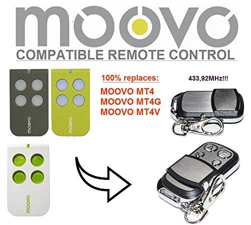 MOOVO MT4, MT4G, MT4V compatible mando a distancia, 4canales, frecuencia 433,92MHz rolling code repuesto emisor de alta calidad para el mejor precio.