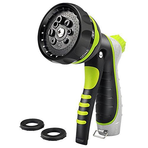 Joso Garden Hose Nozzle, Water Spray Metal Hose Nozzle Sprayer, Anti-Leak High Pressure, Heavy Duty 8 Adjustable Watering Patterns, Flow Control Setting Knob- Best for Plants Lawn, Pet & Car Washing