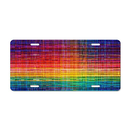 Rustique Finish - Get Noy Rainbow Seamless Rustique Fabric Pattern License Plate Cover Aluminum Car Tag Cover License Tag Holder License Plate Frame for US Vehicles Standard