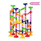 FUNTOK Marble Run Toy, Intelligence Building Blocks, Marble Roller Coaster Game, DIY Construction Toy for Boys&Girls above 3 Years Old(105pcs)