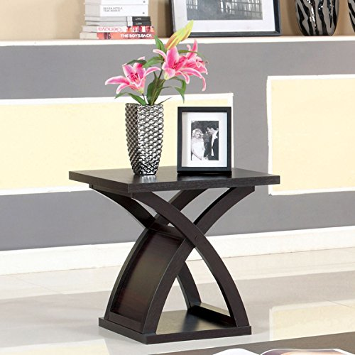 Iron Base End Table - Furniture of America Barkley Modern Espresso X-Base Solid Wood End Table, Brown