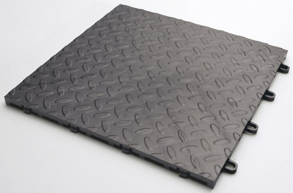 Dalles pvc clipsables garage tapis de sol garage 50x50x0.45cm 4 pi/èces par m2 Gris - angle - 1 pi/èce