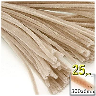 The Crafts Outlet Chenille Stems, Pipe Cleaner, 12-inch (30-cm), 25-pc, Tan