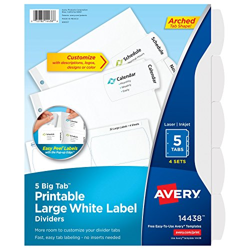Avery Big Tab Printable Large White Label Dividers with Easy Peel, 5 Tabs, 4 Sets (14438) ()