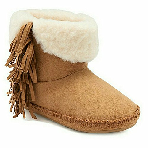 Girl and Lining Madden Cuff Brown Slippers Chestnut with Women's Fringe Microsuede Sherpa RxxwBOf