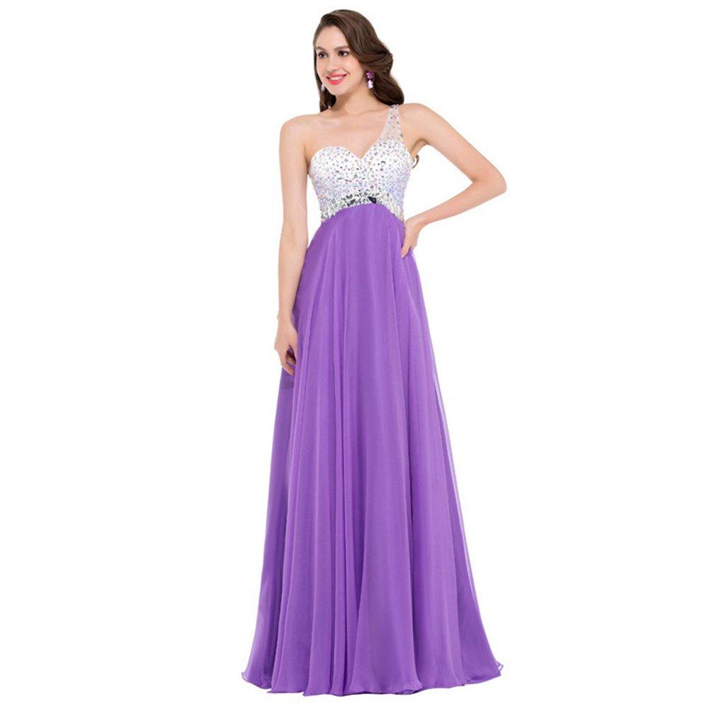 HUAN Vestido de Noche/Vestido de Noche de Fiesta/Fiesta de Baile/Vestido de Noche de Fiesta con Pedrería (Color : Púrpura, Tamaño : 14#): Amazon.es: Jardín