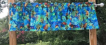 Tropical Fish Turtle Aquarium Saltwater Sea Blue Green Ocean Water Underwater Exotic Fish Beach Handcrafted Curtain Valance