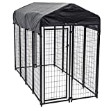 Image of Heavy Duty Dog Cage – Lucky Dog Outdoor Pet Playpen – This Pet Cage is Perfect For Containing Small Dogs and Animals. Included is a Roof and Water-Resistant Cover (4'W x 8'L x 6'H)