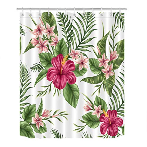 - LB Hawaiian Tropical Leaf Flowers Decor Shower Curtain for Bathroom, Hibiscus Plumeria Floral Plant Theme, Mold Free Water Repellant Non Toxic Decorative Curtain, 70 x 70 Inch
