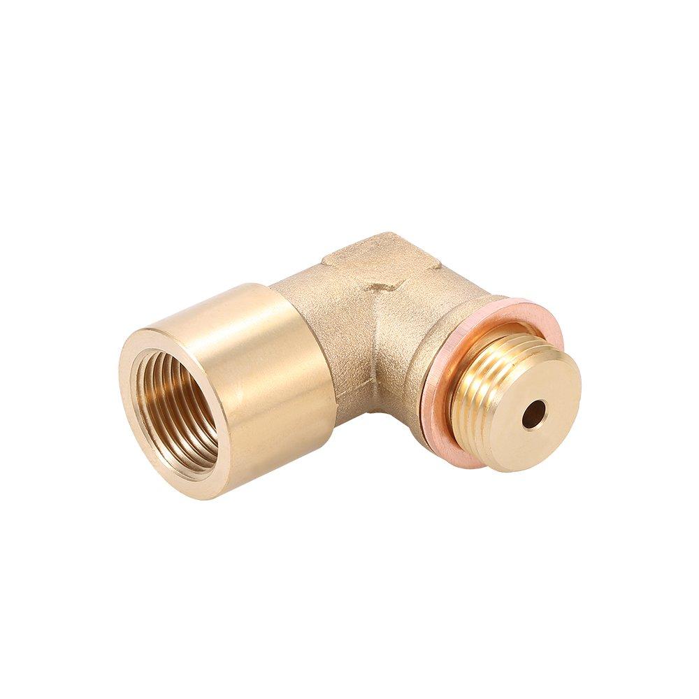 KKmoon Tubo di Estensione 90/° Angolo Lambda O2 Sensore di Ossigeno Estensore Spacer per Decat Hydrogen Brass M18x1,5