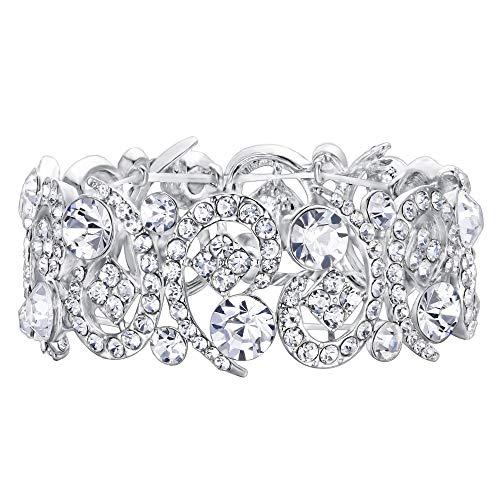 EVER FAITH Women's Austrian Crystal Stunning Hollow Floral Bridal Stretch Bracelet - Large Bracelet Rhinestone Stretch