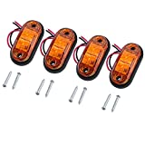 Justech 4PCS Side Marker Lights LED Front Rear Lights Lamps Universal Indicator Position 12V 24V Amber Bulbs Truck Trailer Van Caravan Lorry Car Bus