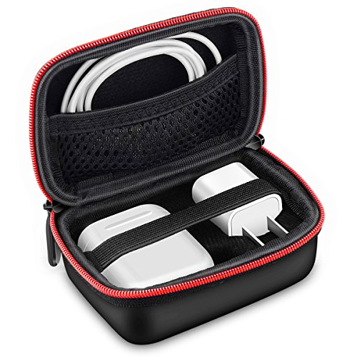 Airpods Case,Kutop Protective Keychain Carrying Cover Waterproof Shockproof Headphones Accessories Zipper Mesh Pouches Storage Bags for Apple AirPods Charging Case Lightning Cable Air Pods Hooks,Black
