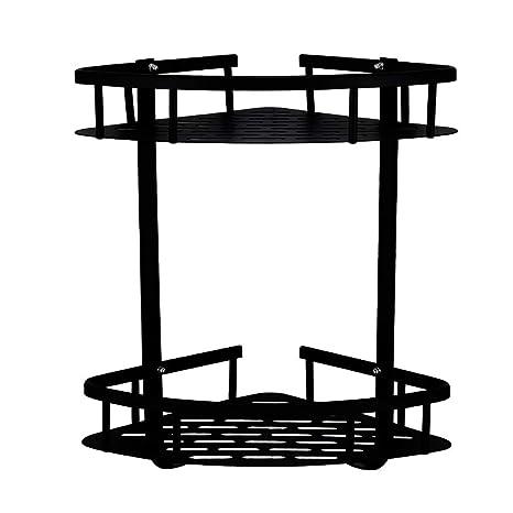 Mensola Doccia Angolare a Due Livelli in Alluminio Mensola angolo doccia Mensole Bagno Senza Foratura Mensola ad Angolo Stoccaggio Portaoggetti da Bagno