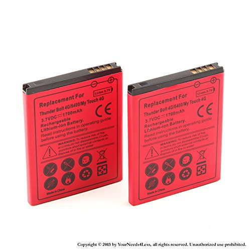 YN4L® 2x 1700mAh battery for HTC Thunderbolt ADR6400; T-Mobile myTouch 4G