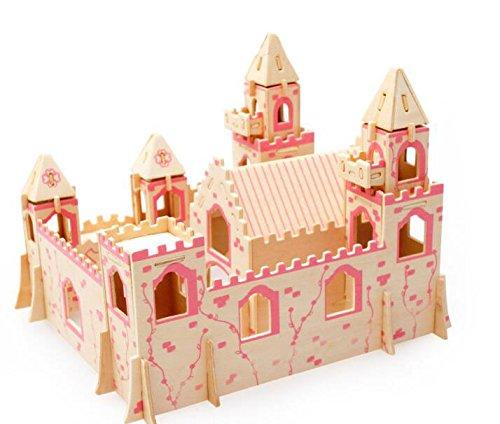 3D Wooden Puzzle Princess Castle Buliding Blocks DIY Educational Toy for Kids Children