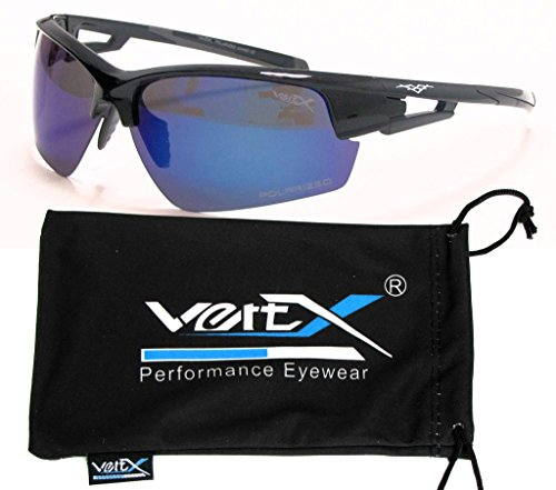 Sunglasses Affordable Revo (VertX Men's Polarized Sunglasses Sport Cycling Outdoor Free Microfiber Pouch – Black Frame – Blue Lens)