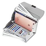 Women RFID Blocking Wallet with Checkbook Passport Holder Leather Travel Purse Grey
