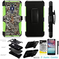For ZTE MAX XL N9560 /3Items [Clear LCD Film]+Stylus Pen+[Impact Resistance] Dual Layer [Belt Clip] Holster Combo [KickStand] Phone Case Tree Camo Branch - Green