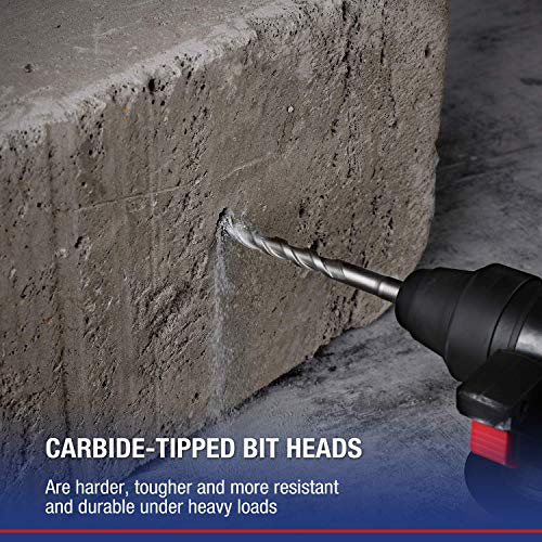 WORKPRO 8-Piece SDS-plus Drill Bit Set, Carbide Tip, SDS+ Rotary Hammer Drill Bit Set with Storage Case for BRICK, CEMENT, STONE & CONCRETE
