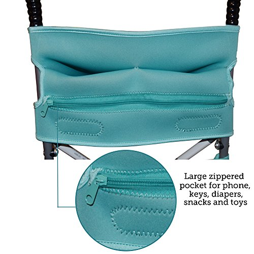 Baby Stroller Caddy Storage Organizer - Cup, Bottle and Diaper Holder for Stroller Accessories Bag - Universal Umbrella Stroller Organizer with Cup Holders - Perfect Baby Shower Gift (Turquoise) by Sunshine Nooks (Image #3)