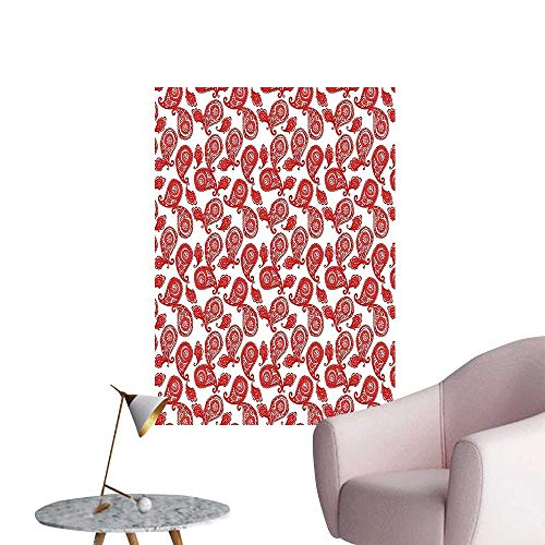 Wall Decoration Wall Stickers Inspired Bohemic Details Work White and Fire Red Print Artwork,16