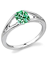RINGJEWEL 3.06 ct Vvs1 Cushion Real Moissanite Solitaire Engagement & Wedding Ring white Green Size 7